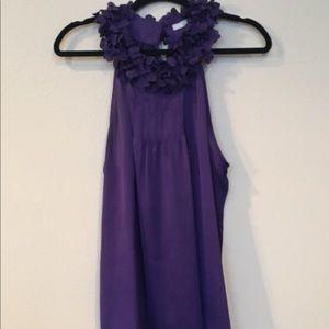 Purple Top with flower neckline detail